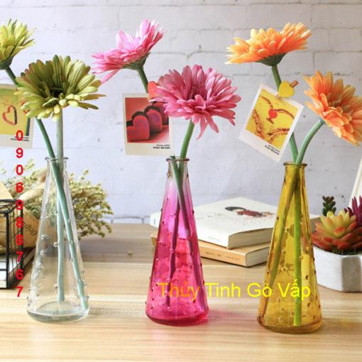 Bình cắm hoa hình nón chấm bi nhiều màu sắc, bình thủy tinh nghệ thuật