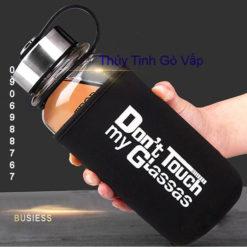 Bình nước thủy tinh có túi giữ nhiệt 650ml | 850ml dont touch my glassas - thuytinhgovap.com