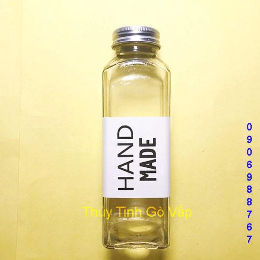 chai vuông nắp nhôm 300ml, chai lọ thủy tinh giá rẻ ở sài gòn