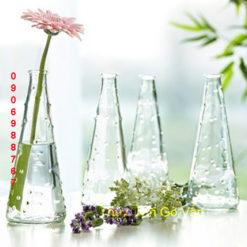 Bình hoa để bàn chấm bi hình nón, bình cắm hoa thủy tinh