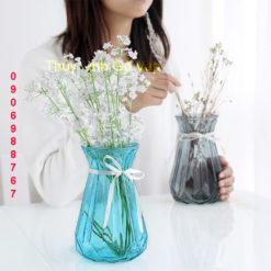 Bình hoa pha lê bí ngô để bàn nhiều màu bình trang trí đẹp