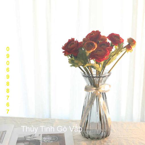 bình hoa thủy tinh tay bèo nghệ thuật, bình hoa văn phòng