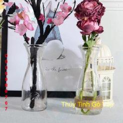 Bình hoa trang trí từ chai thủy tinh eo bình pha lê cao cấp