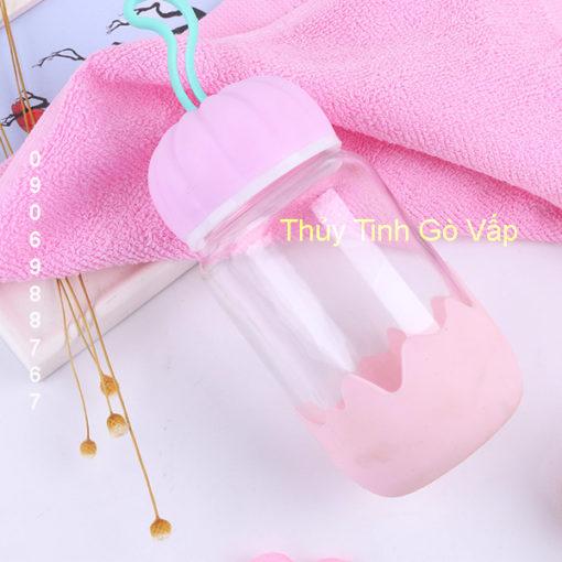 Bình nước thủy tinh học sinh hình bí ngô nhiều màu 350ml tại 28/22 Lê Thị Hồng, P.17, Gò Vấp, Tp.HCM