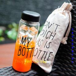 Bình thủy tinh đựng nước My bottle nắp nhiều màu, túi vải tại thuy tinh go vap