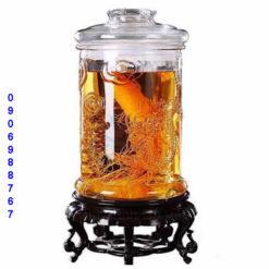 Bình thủy tinh ngâm rượu ống trụ khắc hình rồng giá rẻ ở gò vấp