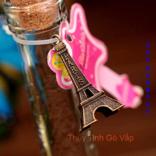 Chai thủy tinh hình Tháp Eiffel nút gỗ ép 300ml, chai lọ trang trí, quà tặng đẹp