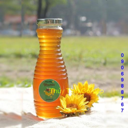 chai thủy tinh hình tổ ong nắp nhựa bạc 1000ml chai lọ thủy tinh đựng mật ong ở gò vấp