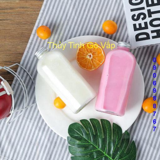chai thủy tinh hình trụ tròn cao nắp nhôm 500ml nhập khẩu giá rẻ tại thuytinhgovap.com