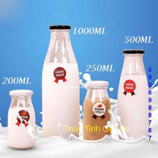 chai thủy tinh lùn nắp thiếc 1000ml giá rẻ cao cấp đựng mật ong ở gò vấp