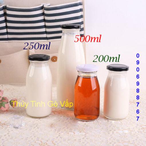 Chai thủy tinh lùn nắp thiếc 250ml giá rẻ cao cấp đựng sữa ở hcm