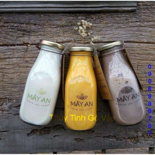 chai thủy tinh lùn nắp thiếc 300ml giá rẻ cao cấp đựng sữa chua ở gò vấp