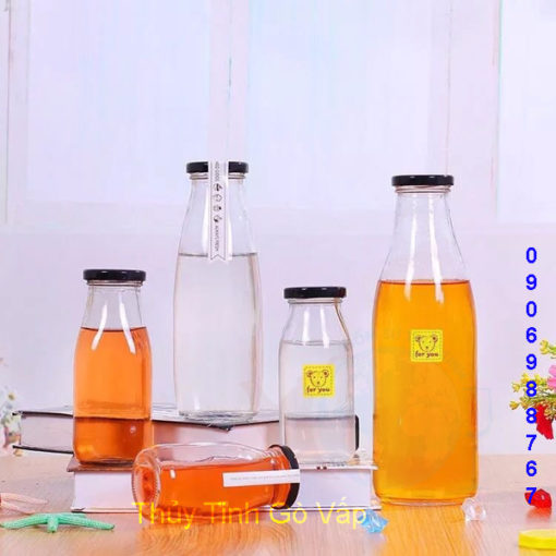 chai thủy tinh lùn nắp thiếc 500ml giá rẻ cao cấp đựng sinh tố ở đâu hcm