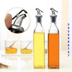 Chai thủy tinh vuông chiết dầu ăn 500ml, chiết rượu cho quán bar, cafe
