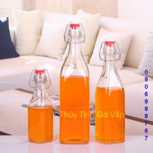 chai thủy tinh vuông nắp gài thép 200ml 500ml 1000ml ở thủy tinh gò vấp, chai chứa nước