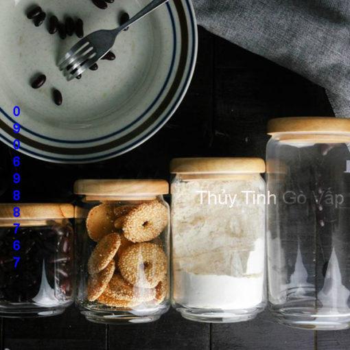 Hũ thủy tinh cao cấp Ocean Pop Jar Wooden Lid 325ml 500ml 650ml 750ml 1000ml chai lọ thủy tinh cao cấp ở bình thạnh