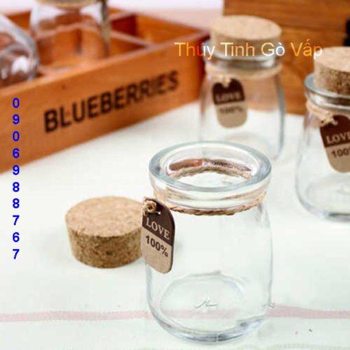 hũ pudding lùn nút gỗ ép 100ml, chai lọ thủy tinh giá rẻ tại gò vấp