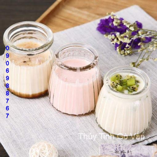 hũ pudding sọc nắp nhựa 100ml chai lọ thủy tinh giá rẻ tại hcm