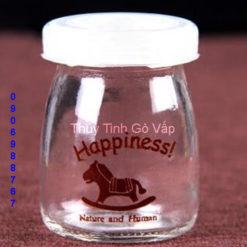 hũ sữa chua in hình con ngựa happiness 100ml hũ thủy tinh đựng yaout ở thủ đức