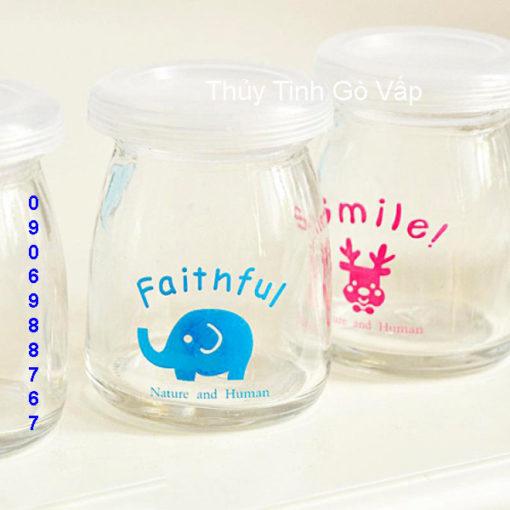 hũ sữa chua in hình con voi Faithful 100ml hũ thủy tinh đựng yaout ở quận 12