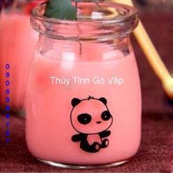 hũ sữa chua in hình gấu trúc 100ml hũ thủy tinh đựng yaout ở hóc môn