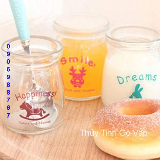 hũ sữa chua in hình thỏ dreams 100ml hũ thủy tinh đựng yaout ở hcm
