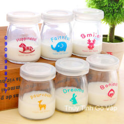 Hũ sữa chua nắp nhựa in hình 100ml chai lọ thủy tinh đựng yaout