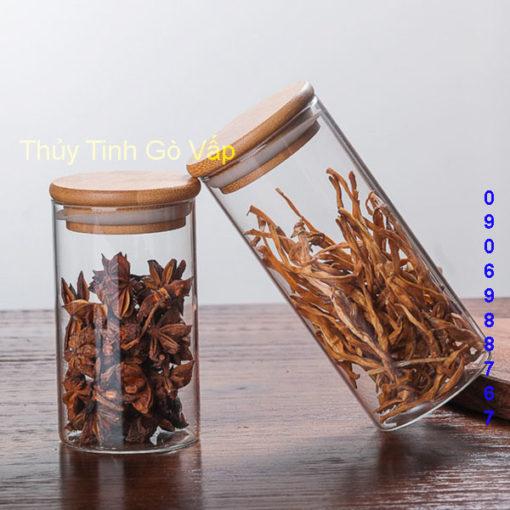 hũ thủy tinh cao cấp nắp gỗ ép 500ml 680ml 1050ml 1400ml 1960ml, chai lọ cao cấp ở gò vấp