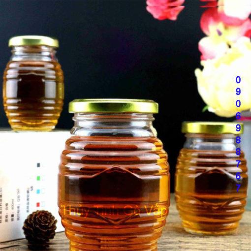 hũ thủy tinh hình tổ ong nắp thiếc 350ml hũ đựng mật ong ở gò vấp