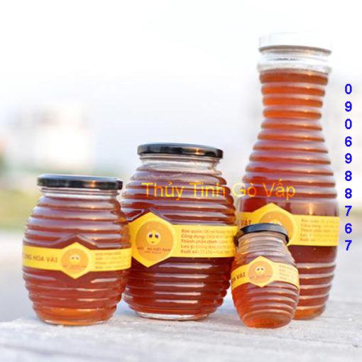 hũ thủy tinh hình tổ ong nắp thiếc 750ml hũ đựng mật ong ở gò vấp