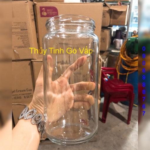 hũ thủy tinh tròn nắp thiếc 1000ml, chai lọ giá rẻ cao cấp ở gò vấp