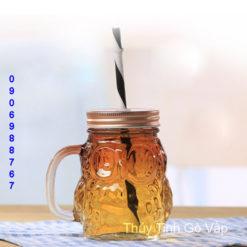 Ly thủy tinh hình cú mèo 350ml ly sinh tố trà sữa giá rẻ ở sài gòn