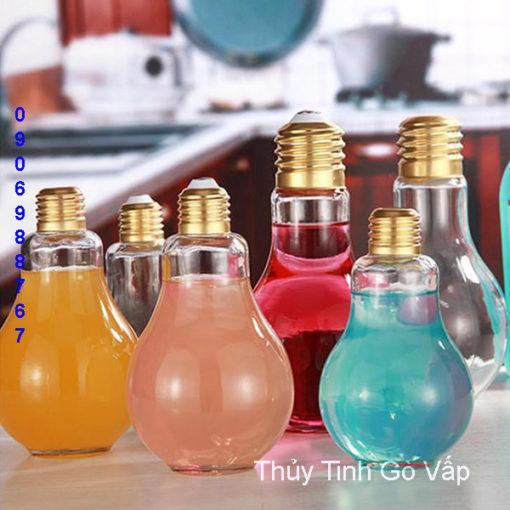 Ly thủy tinh trà sữa hình bóng đèn nắp thiếc vàng, thủy tinh giá rẻ