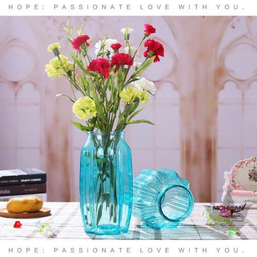 Bình Cắm Hoa Trang Trí Nghệ Thuật Không Gian Sống, lọ hoa thủy tinh xanh dương, họa tiết sọc dọc ngôi sao